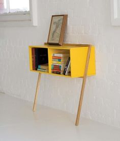 Yellow leaning storage: ideal for dinning room, hallways, lounges, offices, retail spaces and reception areas.