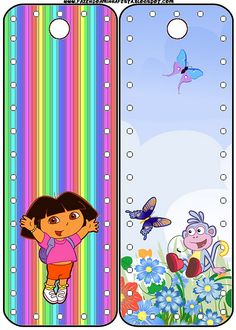 Dora the Explorer: Invitations and Free Party Printables. Printable Labels, Party Printables, Art Sets For Kids, Oh My Fiesta, Christmas Gift Tags Printable, Diy Bookmarks, Book Markers, Dora The Explorer, Craft Patterns