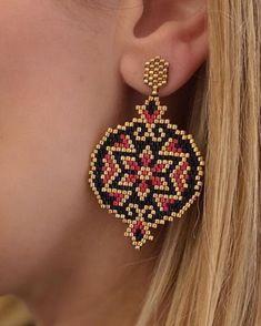 Seed Bead Earrings, Beaded Earrings, Earrings Handmade, Seed Beads, Beading Projects, Beading Tutorials, Diy Jewelry, Beaded Jewelry, Peyote Beading