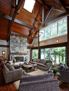 20 Rustic Living Room Ceiling Decoration Ideas You Need to Try Vaulted Living Rooms, Living Spaces, Small Living, Living Room Ceiling Decoration, Wall Decor, Cabana, Rustic Photography, Rustic Apartment, Rustic Interiors
