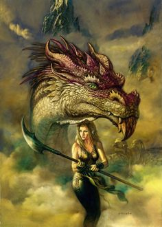 I love the idea that this dragon seems to be guard of the female warrior woman — Ciruelo Cabral
