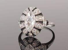 Art Deco Marquise Diamond and Onyx Ring
