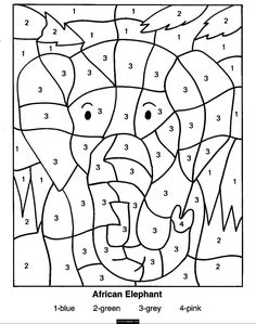 Color By Numbers Elephant Coloring Page for Kids Printable | eColoringPage.com- Printable Coloring Pages