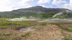 Geothermal Steam coming from ground in Iceland