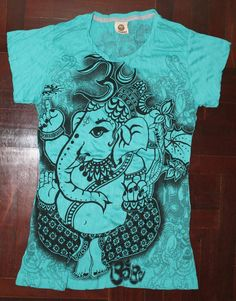 Women's T shirt SIZE S ONLY Ganesha Hindu OM Sign Hamsa Hand Yoga Clothing Buddha T-shirt Yoga Tee