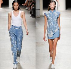 Barbara Bui 2014 Spring Summer Womens Runway Collection - Paris Fashion Week - Mode à Paris - Denim Jeans Embroidery Adornment Decorated Fra...