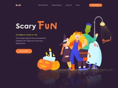 Hi Dribbblers, ready to have a bootiful Halloween? It is a great time to be creepily creative! Today we have prepared a design concept for the Halloween Party that is always a fun packed evening wh. Ui Kit, Branding, About Us Page Design, Kids Web, Business Illustration, Flat Illustration, Illustrations, Web Layout, Layout Design