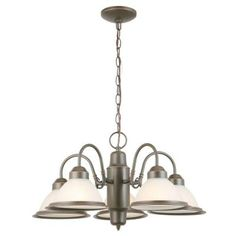 Commercial Electric 5-Light Oil Rubbed Bronze Halophane Chandelier-WB0390/ORB at The Home Depot