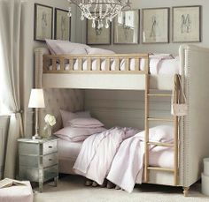 Source: mylittleitch - http://mylittleitch.tumblr.com/post/46931956406/girly-bunk-bed..ADORABLE CAMA CON RESPALDO CAPITONE DOBLE