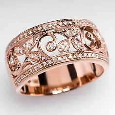 Wide Band Genuine Diamond Ring Floral Motif Solid 14K Rose Gold Estate Jewelry