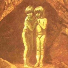 The Green Children of Woolpit were two children who appeared in the village of Woolpit in Suffolk, UK, in the 12th century. The children were brother and sister and they had green colored skin. Their appearance was normal in all other areas. They spoke an unrecognized language and refused to eat anything other than pitch from bean pods. Eventually their skin lost its green color. When they learned English they explained that they were from the 'Land of St Martin' which was a dark place because..
