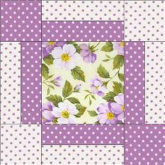 And cabbage rose Image detail for -Purple Dot Green Floral Pre Cut Quilt Block Kit Fabric Patchwork Quilting, Scrappy Quilts, Easy Quilts, Quilting Tutorials, Quilting Projects, Quilting Designs, Sewing Projects, Quilt Block Patterns, Pattern Blocks