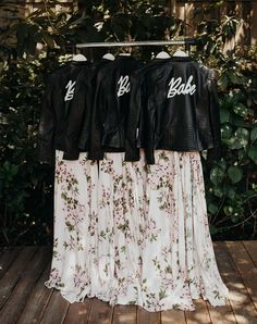 """This bridesmaid dress and leather """"Babe"""" jacket combo has us in love!"""