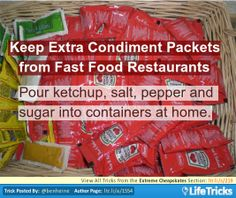 Extreme Cheapskates - Keep Extra Condiment Packets from Fast Food Restaurants