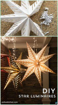 DIY Hanging Star Luminary Christmas Lights Instruction -DIY Christmas Lights Ideas Crafts