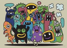 'cute monster set' by Chris olivier Art Sketches, Art Drawings, Pencil Drawings, Doodles Bonitos, Doodle Wall, Doodle Monster, Wallpaper Doodle, Cartoon Drawings Of Animals, Doodle Art Journals