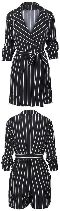 "The ""Cupshe Happy With Me Stripe Romper"" is a staple romper your wardrobe is lacking! Free shipping to get it Now! This striped romper features sash&lapel design! Your must-have chic look at Cupshe.com"
