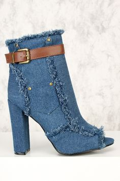 "Sexy Light Blue Denim Distressed Peep Toe Chunky Heel Booties ""#FREESHIPPING #Bags #shoes #boots #womensfashion #genuine #vintage #chanel #streetstyle #stylish #outfit #fashionista #fashionblogger #designers #instafashion #ootd #lookbook #beachwear #womensfashion #summerstyle #brands #booties"" Denim Sandals, Denim Shoes, Jeans And Boots, High Heel Boots, Bootie Boots, High Heels, Shoes Heels Pumps, Wedge Shoes, Latex"