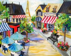 Paris Street Scene Original Landscape Painting by ElainesHeartsong