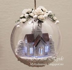Christmas ornament with a small winter scene. The small glitter house church / puts house church is only tall. This is created with papers from Maja design. The acrylic ornament is from Rayher. Created by Kirsten Hyde christmas ornaments Christmas Snow Globes, Christmas Lanterns, Christmas Gift Decorations, Christmas Ornaments To Make, Christmas Balls, Christmas Angels, Vintage Christmas, Christmas Wreaths, Christmas Crafts