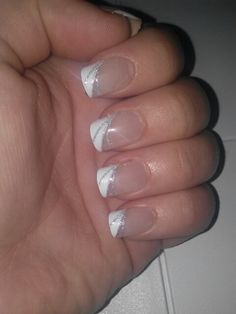 Silver and white French manicure
