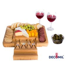 DECOMIL - Bamboo Cheese Board with Knife Set – Rectangle Wooden Server has Extra Serving on Edges for Crackers – Accessories Drawer Holds Small Cutting Knives and Spreader Tools with Wood Handle