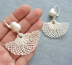 Marie Antoinette Earrings Pearl and Needle lace by StaroftheEast, $64.00