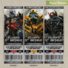 Personalized TRANSFORMERS Birthday Ticket Invitation Card (Choose from 3 designs), $10.00