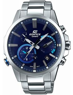 This Casio Edifice offers a smart, bold design with it's sturdy, stainless steel case and band, in addition to water resistance, and Tough Solar powered movement. Casio Edifice, Cool Watches, Watches For Men, Men's Watches, Wrist Watches, Casual Watches, Sport Watches, Fashion Watches, Smartwatch