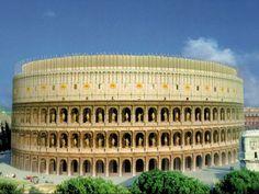 Vista virtual del Coliseo Romano en la Antigüedad.