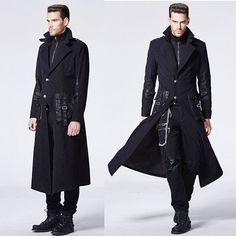 Men Black Single Breasted Gothic Military Style Dress Trench Coats SKU-11401709