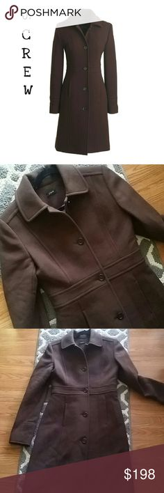 "J. Crew Double Cloth Lady Day Coat Beautiful long chocolate brown J.Crew sold out lady day coat. EUC one very small snag on the collar (see pic 4)  34"" bust  42"" length J. Crew Jackets & Coats"
