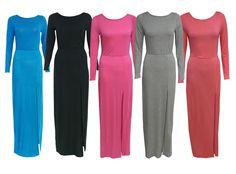 WOMENS LADIES MAXI DRESS LONG SLEEVE SPLIT FRONT SKIRT SLEEVED DRESSES SIZE 8-14 | eBay