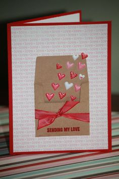 One Handmade Valentines Card Happy Valentine's by strandedpaper
