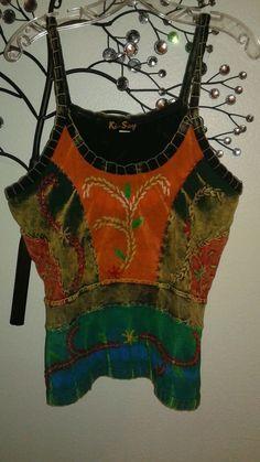 Ki-Say Ladies embroidered tank top Multi-color SZ L Tie dye back #KiSay #TankCami #Casual