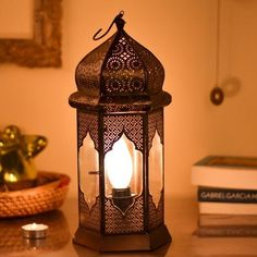 Moroccan Lamp, Street Lamp, Bedside Lamp, Lighting Online, Moorish, Glass Panels, Candle Sconces, Home And Living, Lanterns
