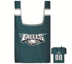 TWO PHILADELPHIA EAGLES POLYESTER BAG IN A POUCH SHOPPING BAGS FROM DUCK HOUSE  #DuckhouseSports #PhiladelphiaEagles