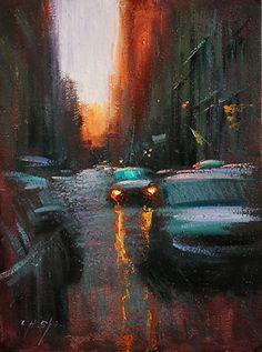 Autumn Comes to Village-Sundown on Mercer Street by Chin H Shin Oil ~ 24 x 18