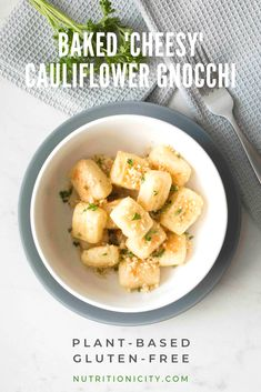 Baked 'Cheesy' Cauliflower Gnocchi - plant-based and gluten-free! These easy dumplings of deliciousness are kicked up, while much lower in carbs! Vegan Recipes Videos, Best Gluten Free Recipes, Delicious Vegan Recipes, Low Carb Recipes, Whole Food Recipes, Vegetarian Recipes, Healthy Recipes, Healthy Food, Vegan Meals