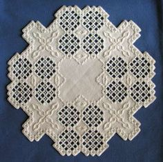 Hardanger embroidery Looks intricate but actually not hard to do if you can count to 4.