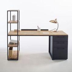 Bureau-bibliothèque métal et chêne massif, Hiba La Redoute Interieurs | La Redoute Mobile
