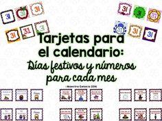 """Included are 12 sets (one for each month) of 3""""X3"""" number cards. (See designs in thumbnails). Included are the following holidays/school events:No hay clases (7)Feliz Cumpleaos (7)Comienza el veranoComienza el otooComienza el inviernoComienza la primaveraInstituto de maestrosConferencias de padres y maestrosPaseo (2)Da especial (2)Da del TrabajoDa de Cristbal ColnDa de los VeteranosDa de las EleccionesDa de Accin de GraciasNavidadAo NuevoDa de Martin Luther King Jr.Ao Nuevo ChinoDa de la…"""