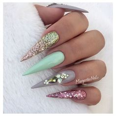 Pastel Green And Rose Gold Stilettos by MargaritasNailz