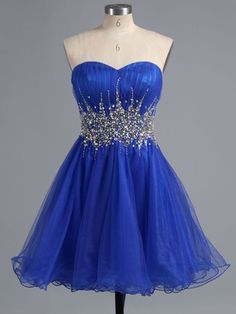 Famous A-line Sweetheart Tulle Short/Mini Crystal Detailing Royal Blue Homecoming Dresses #DGD020101916