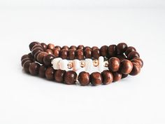 Natural Shell Chips, Brown Wooden Beads, Gold Coated Pyrite Rondelles - Stretch Handmade MALA Bracelet (54 Beads)