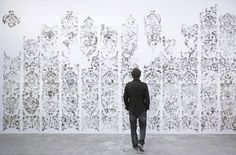 """""""Unfurling Splendour (Adaptation II)""""  (2009)  Dust and glue Located at Circuit Gallery, Lausanne as part of the the Festival Les Urbaines"""