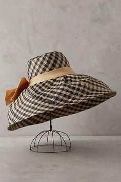 Anthropologie Raffia Gingham Sun Hat perfect for your favorite gardener