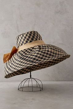 Anthropologie Raffia Gingham Sun Hat