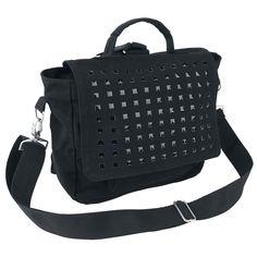 """#Borsa a tracolla nera """"Studded Bag"""" della collezione Black Premium by EMP."""