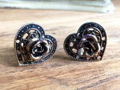 Vintage Heart Clip On Earrings  Gold Tones by SweetTeaHoneyBiscuit